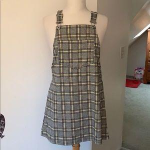 H&M bib overall plaid mini dress